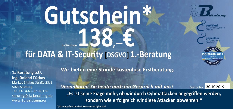 Gutschein für DATA & IT-Security [DSGVO] 1.-Beratung